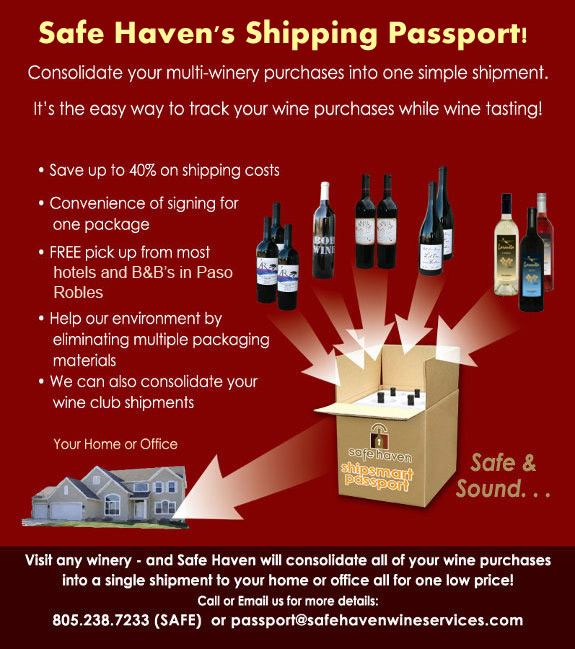 Safe Haven's Shipping Passport! Consolidate your multi-winery purchases into one simple shipment. It's the easy way to track your wine purchases while wine tasting.
